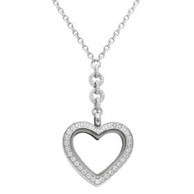 Small Heart White Topaz Locket With Chain