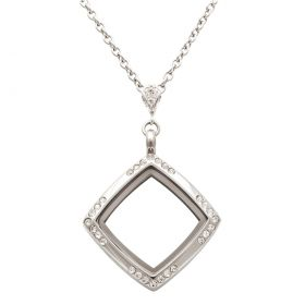 Square with White Topaz Corners Locket With Chain