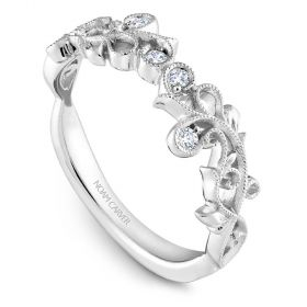 14K Noam Carver Stackable in White Gold with  4 Round Diamonds