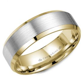 14K White  & Yellow Gold  7mm wide CrownRing wedding band
