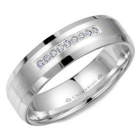 14K White Gold  6mm wide CrownRing wedding band with nine round diamond