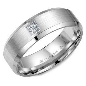 14K White Gold  7mm wide CrownRing wedding band with a round diamond