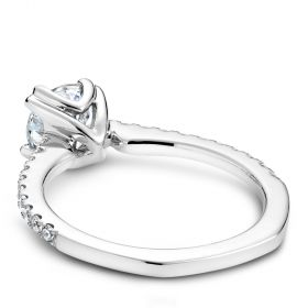 14K White Gold Noam Carver Engagment ring with 20 Round Dimamonds. Center Stone not included.