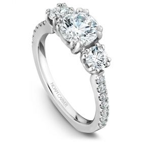 14K White Gold Noam Carver Engagment ring 16 Round Diamonds. Center Stone not included.