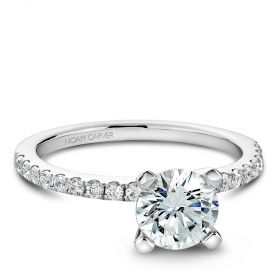14K White Gold Noam Carver Engagment ring with 18 Round Dimamonds. Center Stone not included.