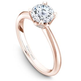 14K Rose Gold Noam Carver Engagment ring with 34 Round Dimamonds. Center Stone not included.