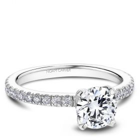 14K White Gold Noam Carver Engagment ring 60 Round Diamonds. Center Stone not included.