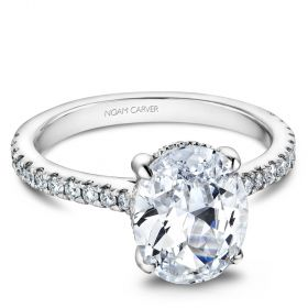 14K White Gold Noam Carver Engagment ring with 42 Round Dimamonds. Center Stone not included.