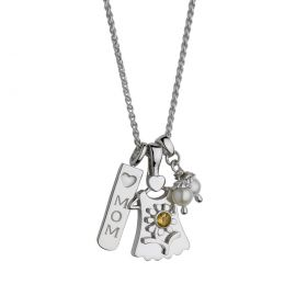 Mom with Blossom Birth Gem Girl Pendant