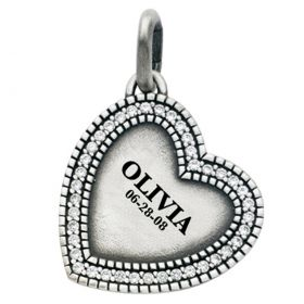 Engravable Diamond Edge Heart Charm
