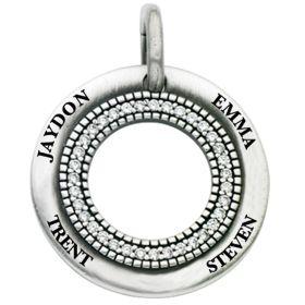 Engravable Diamond Inner Ring Open Circle Charm
