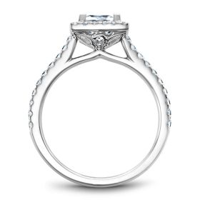 14K White Gold Noam Carver Engagment ring with 40 Round Dimamonds. Center Stone not included.