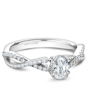 14K White Gold Noam Carver Engagment ring with 56 Round Dimamonds. Center Stone not included.