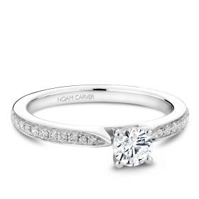14K White Gold Noam Carver Engagment ring with 22 Round Dimamonds. Center Stone not included.