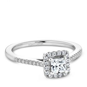 14K White Gold Noam Carver Engagment ring with 32 Round Diamonds. Center Stone not included.
