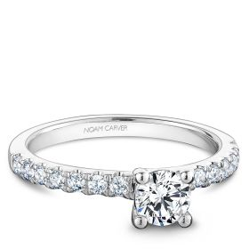 14K White Gold Noam Carver Engagment ring with 14 Round Diamonds. Center Stone not included.