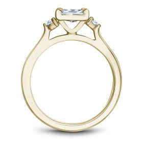 14K Yellow Gold Noam Carver Engagment ring with 2 Round Diamonds. Center Stone not included.