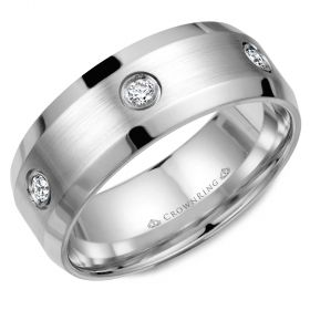 14K White Gold  8mm wide CrownRing wedding band with six round diamond